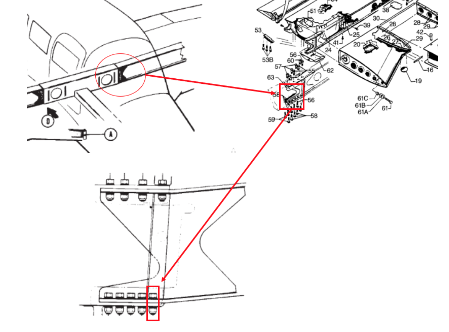 image 2: this ntsb graphic highlights the left-wing assembly and attachment  bolt for a piper pa-28r-201  the wing spar attachment bolt hole is an area  of