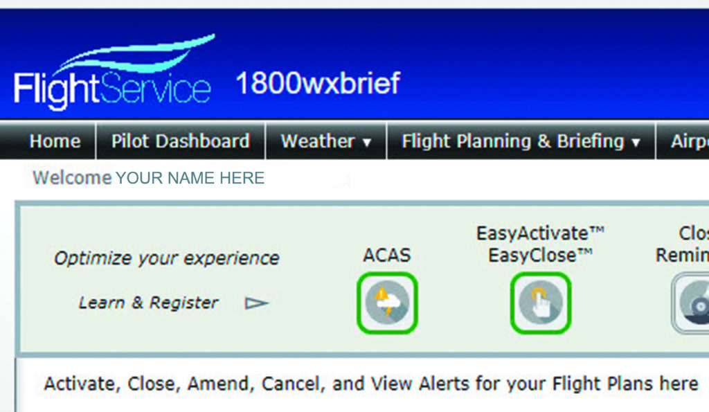 ACAS on 1800wxbrief