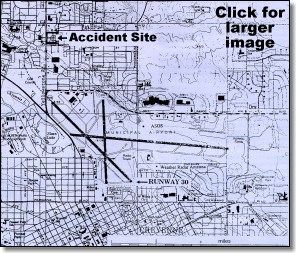 Map of airport and accident site