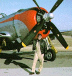 Jeff Ethell with a P-47