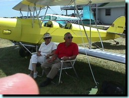 Ken and Barbara Flaglor in front of his R-80 Tiger Moth