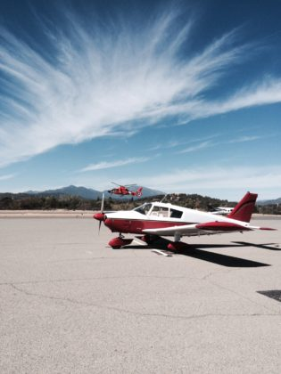 PA28-235 and HH65 Dolphin at Redding, CA